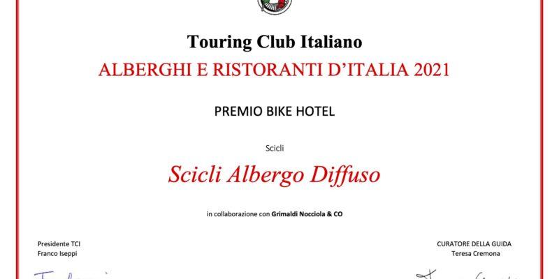 Attestato touring club italia miglior bike hotel 2021