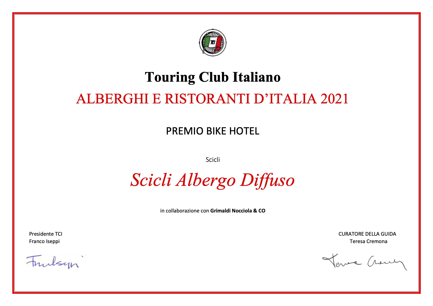 Attestato touring club italia miglior bike hotel 2021